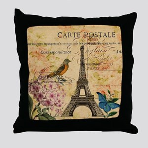 vintage floral butterfly paris eiffel Throw Pillow