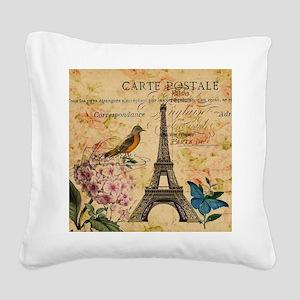 vintage floral butterfly pari Square Canvas Pillow
