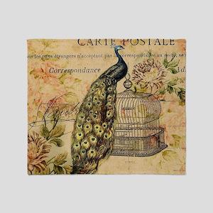vintage peacock floral paris art Throw Blanket