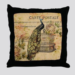 vintage peacock floral paris art Throw Pillow