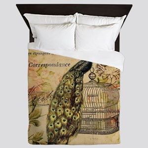 vintage peacock floral paris art Queen Duvet