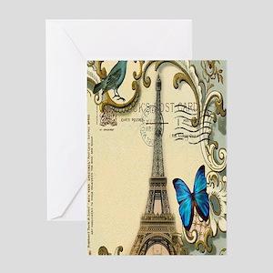 victorian blue butterfly  paris eiff Greeting Card