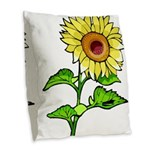 Sunflowers Burlap Throw Pillow