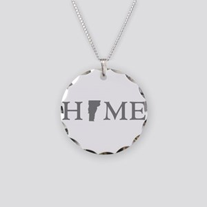 Vermont Home Necklace Circle Charm