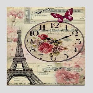 vintage clock paris eiffel tower land Tile Coaster