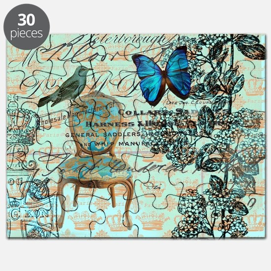 vintage jubilee butterfly floral botanical  Puzzle