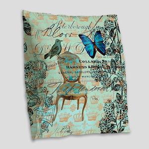 vintage jubilee butterfly flor Burlap Throw Pillow