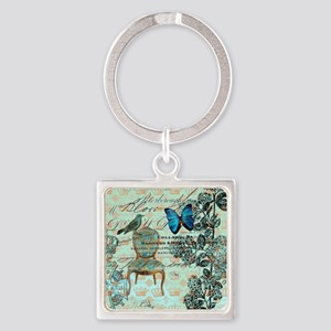 vintage jubilee butterfly floral b Square Keychain