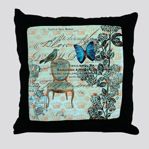 vintage jubilee butterfly floral bota Throw Pillow