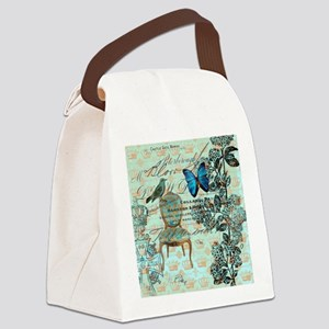 vintage jubilee butterfly floral  Canvas Lunch Bag