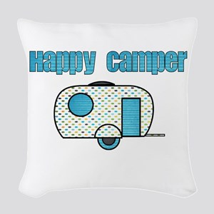 Happy Camper (Blue) Woven Throw Pillow
