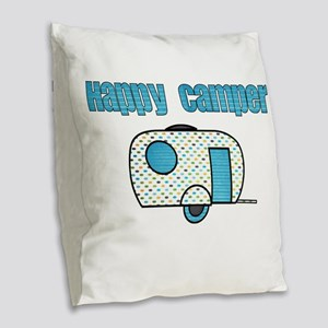 Happy Camper (Blue) Burlap Throw Pillow