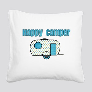 Happy Camper (Blue) Square Canvas Pillow