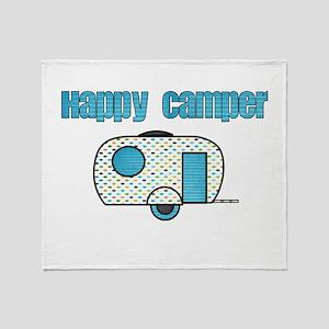 Happy Camper (Blue) Throw Blanket