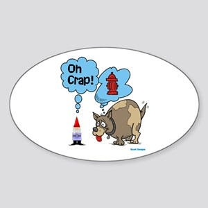 Gnome Visited by the Dog Oval Sticker