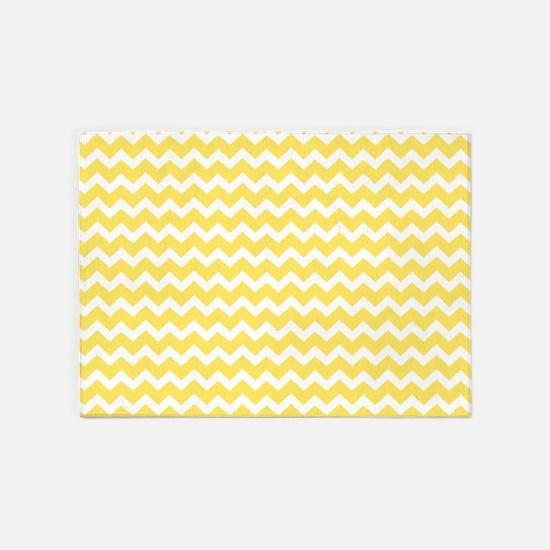 Yellow White Chevron Pattern 5'x7'Area Rug