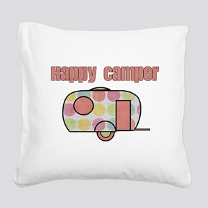 Happy Camper (Pinks) Square Canvas Pillow