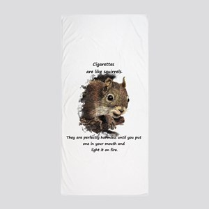 Quit Smoking Motivational Fun Squirrel Beach Towel