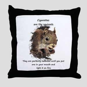 Quit Smoking Motivational Fun Squirrel Quote Throw