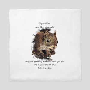 Quit Smoking Motivational Fun Squirrel Queen Duvet