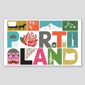 Unique Portland - Block by Blo Sticker (Rectangle)