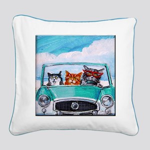 3 Cats In A Nash Metro Square Canvas Pillow