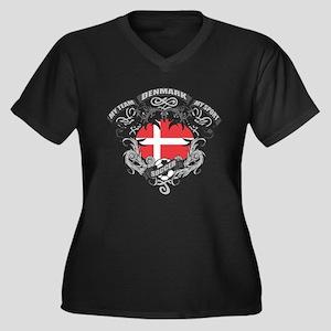 Denmark Socc Women's Plus Size V-Neck Dark T-Shirt