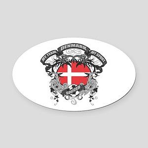 Denmark Soccer Oval Car Magnet