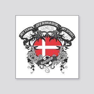 "Denmark Soccer Square Sticker 3"" x 3"""