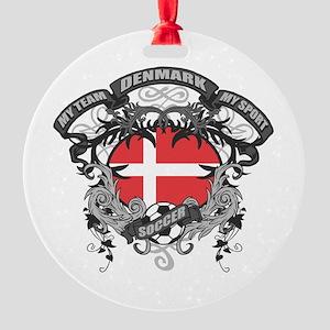 Denmark Soccer Round Ornament