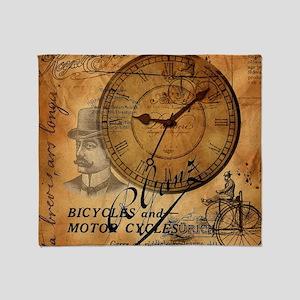distressed vintage clock scripts ind Throw Blanket