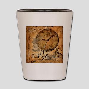 distressed vintage clock scripts indust Shot Glass