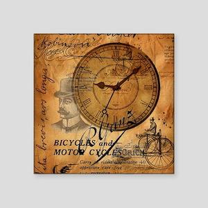 "distressed vintage clock sc Square Sticker 3"" x 3"""