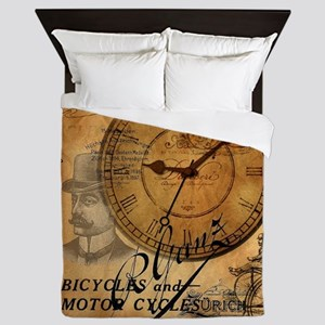 distressed vintage clock scripts indus Queen Duvet