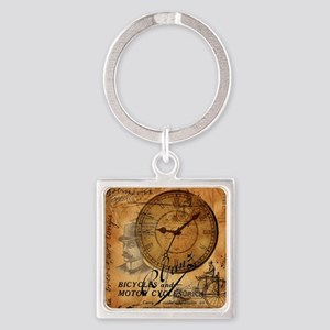 distressed vintage clock scripts i Square Keychain