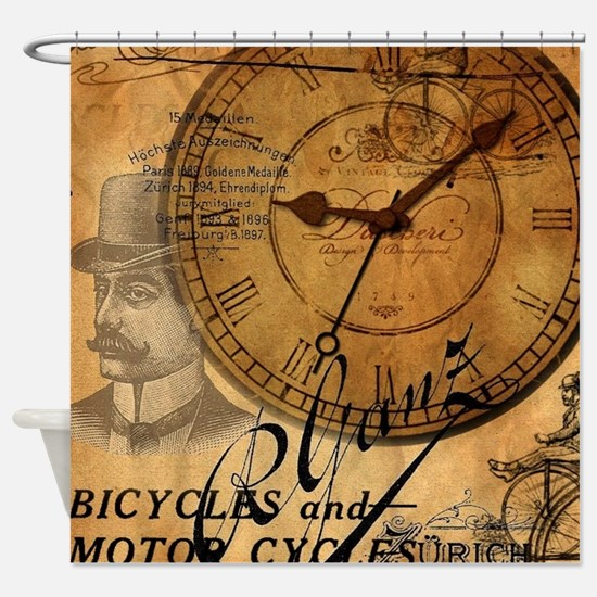 distressed vintage clock scripts in Shower Curtain