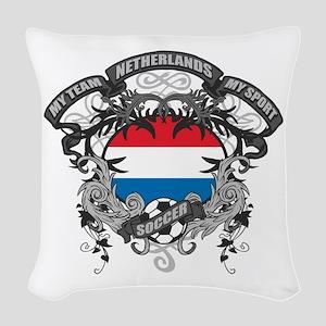 Netherlands Soccer Woven Throw Pillow