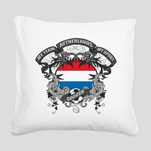 Netherlands Soccer Square Canvas Pillow