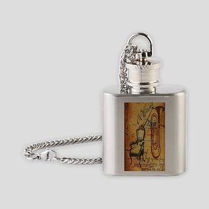 jazzy saxophone rusitc grunge vinta Flask Necklace