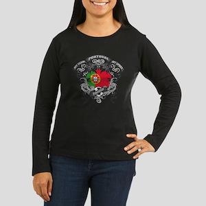 Portugal Soccer Women's Long Sleeve Dark T-Shirt