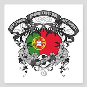 "Portugal Soccer Square Car Magnet 3"" x 3"""