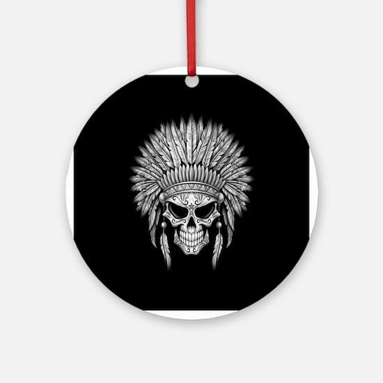 Dark Native Sugar Skull with Headdress Ornament (R