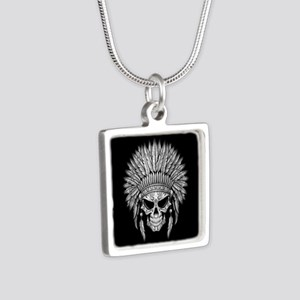 Dark Native Sugar Skull with Headdress Necklaces
