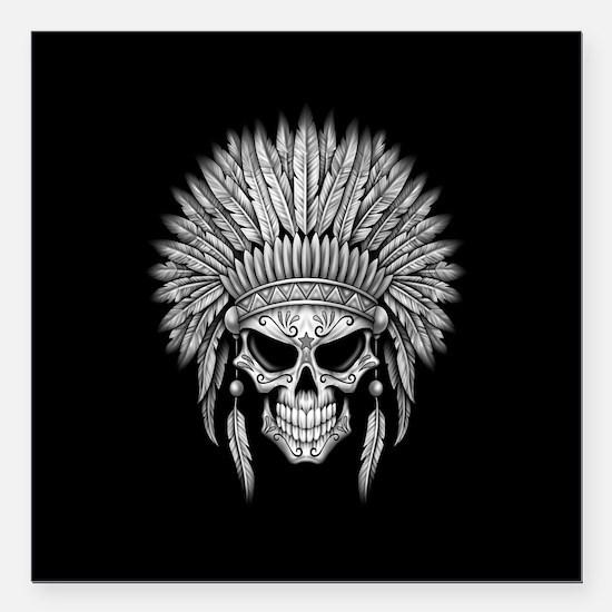 Dark Native Sugar Skull with Headdress Square Car