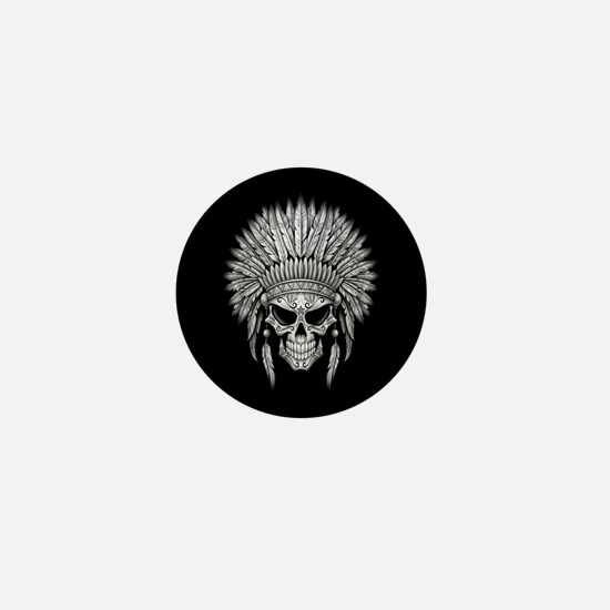 Dark Native Sugar Skull with Headdress Mini Button