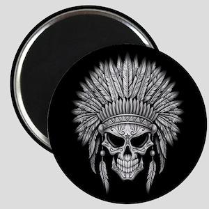 Dark Native Sugar Skull with Headdress Magnets
