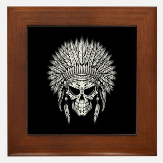 Dark Native Sugar Skull with Headdress Framed Tile