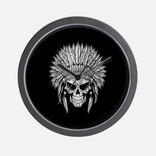 Dark Native Sugar Skull with Headdress Wall Clock