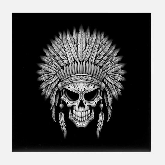 Dark Native Sugar Skull with Headdress Tile Coaste