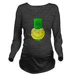 Smiley with Shamrock Long Sleeve Maternity T-Shirt